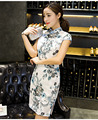 Women's Blue and White Porcelain Retro Printing Cheongsam Long Qipao Dress