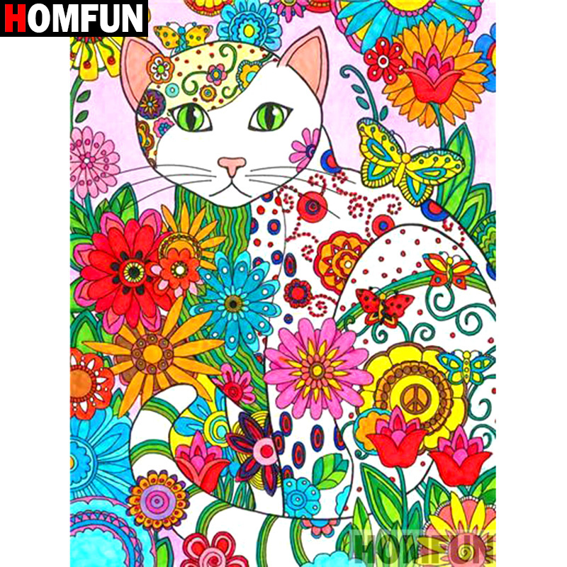 HOMFUN Full Square Round Drill 5D DIY Diamond Painting quot Cartoon cat flower quot Embroidery Cross Stitch 3D Home Decor Gift A13164 in Diamond Painting Cross Stitch from Home amp Garden