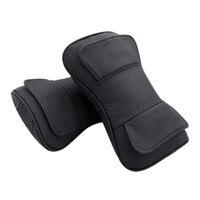 2PCS Black Genuine Leather Car Seat Head Pillows Neck Rest Headrest Double Layer Pillow