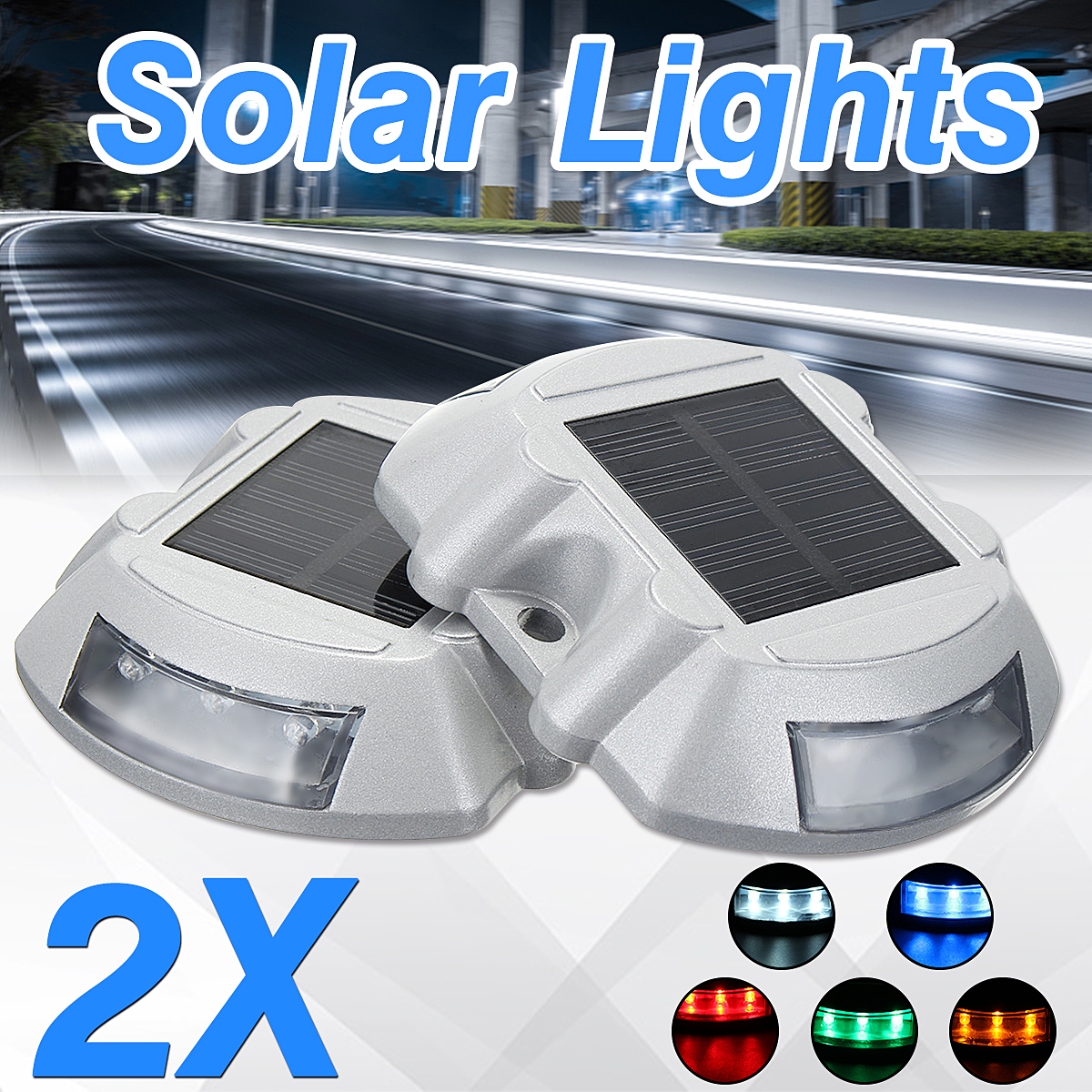 2PCS Solar LED Waterproof Pathway Driveway Light Lamp Dock Path Step Road Yard 5 Color Outdoor Path Lamp
