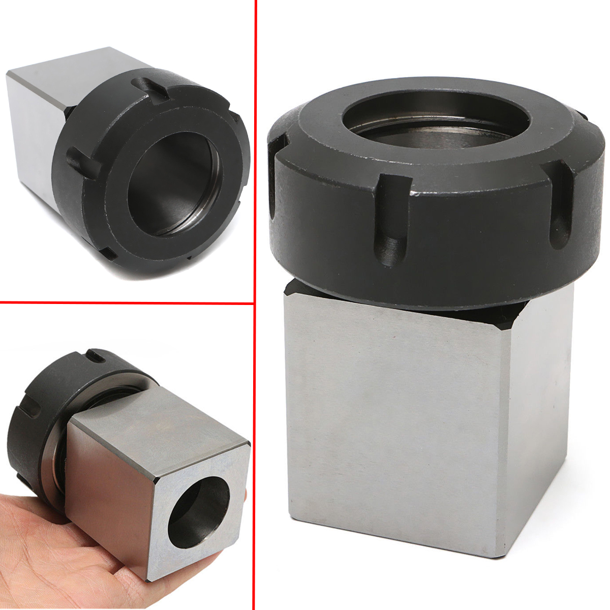 1pc ER-40 Square Collet Chuck Holder Mayitr 3900-5125 Block For Lathe Engraving Machine 1pc square er40 collet chuck block holder 3900 5125 for cnc lathe engraving machine cross hole drilling