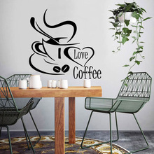 Creative i love coffee Removable Pvc Wall Stickers For Kitchen Room Vinyl Mural Commercial Art Decals adesivo de parede