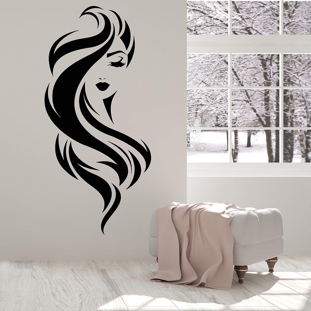 Schönes Gesicht Mädchen Schönheit Make Up Friseursalon Vinyl Wandtattoo  Wohnkultur Removable Wandaufkleber