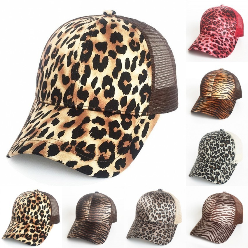 Fashion Animal Print Trucker Cap High Bun Mesh Trucker Hat Women Ponycap Leopard Print Ponytail Baseball Cap Messy