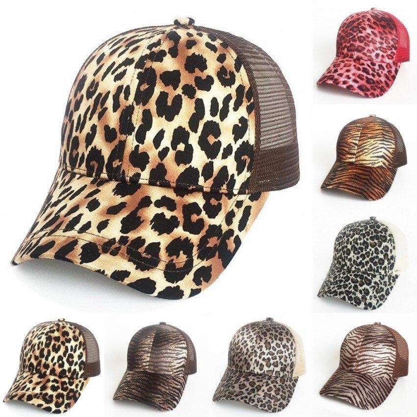 Fashion Animal Print Trucker Cap High Bun Mesh Trucker Hat Women Ponycap Leopard Print Ponytail Baseball Cap Messy