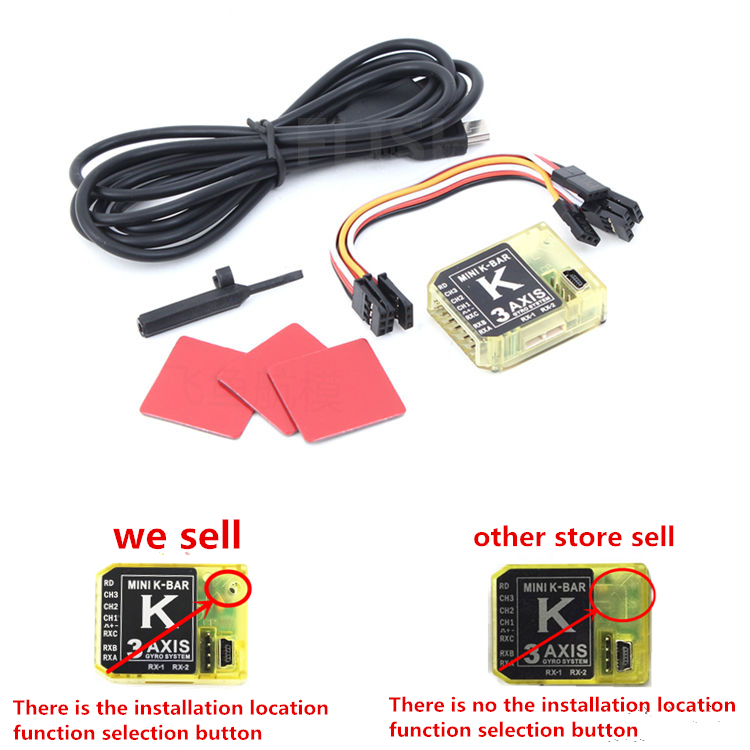 3Axis Gyro KBAR V2 5.3.4PRO K8 Flybarless Stabilization System For 450 500 550 600 RC Helicopter