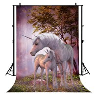5x7ft Two Unicorns Family Polyester Photo Background Portrait Backdrop