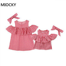 2018 Mother And Daughter Matched Off Shoulder Women Blouse Tops Toddler Plaid Baby Ruffle Summer Bow Headwear Casual Clothes