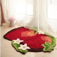 Strawberry Imprint Area Rug Cute Doormat Hand embroidered Floor Mats Personalized Custom Toilet Carpets Pastoral Bathroom Carpet