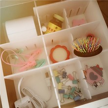 Hot Selling 2 x Drawer Divider Plastic DIY Storage Organizer Household Necessities White Separator Grid