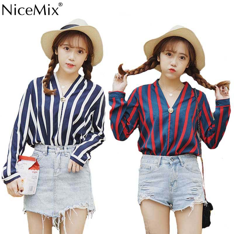 NiceMix 2019 New Spring Autumn Women Blouse Chiffon V-Neck Long Sleeve Work Shirts Office Tops Striped For Business