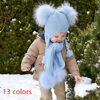 real fur Kid girl boy knitting hat scarf set with raccoon fur pompoms double ball two braid plait pigtail cap 2018 lovely