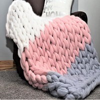 Colorful Hand Weaving Wool knited Blankets Super Soft hand knitted Splicing colors Thread Blanket for Friends Girl Family Gifts