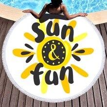 Round Microfiber Beach Towels Tassel Circle Sun Printed Towel Bath Large 150cm Toalla Summer Travel Picnic Yoga Mat Blanket Pad