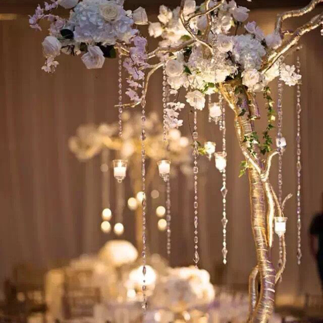 14mm crystal clear acrylic octagonal bead hanging diy wedding decor 14mm crystal clear acrylic octagonal bead hanging diy wedding decor trees centerpiece junglespirit Images