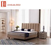 Новейший итальянский стиль queen size натуральная кожа кровать для спальни