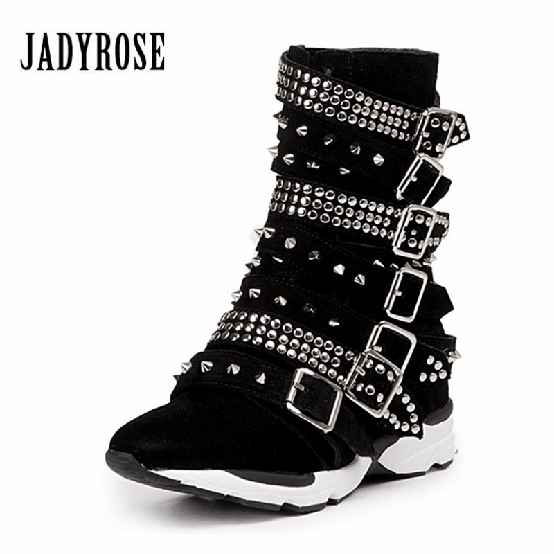 где купить Jady Rose Suede Women Martin Boots Full Rivets Studded Ankle Boots Straps Platform Botas Mujer Casual Shoes Woman Creepers по лучшей цене