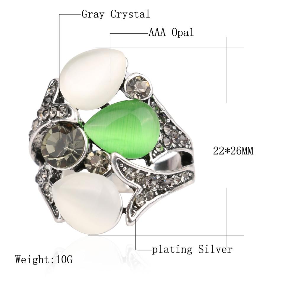 Kinel Vintage Kristall Anel Schmuck Opale Eheringe für Frauen Silber - Modeschmuck - Foto 2