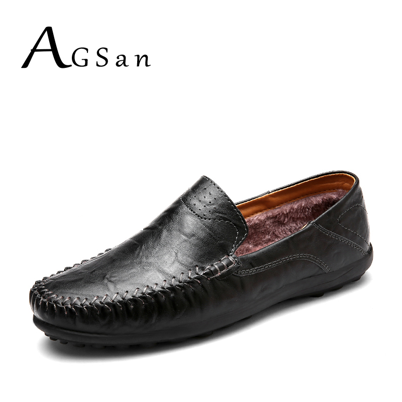 AGSan italian handmade winter men split leather casual shoes fur warm slip on loafers plush driving shoes moccasins black brown italian visual phrase book