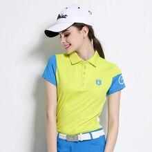 2016 Wiosna lato nowy golf odzież odzież odzież paski krótki rękaw T-shirt korean 1200