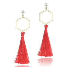 2019 Trendy Long Tassel Earrings Fashion Simulated Pearl Statement earing natural pearl earrings for women pearl earrings