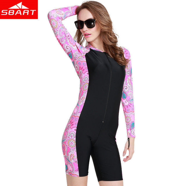SBART 1MM Swimming Wetsuits Hot Summer Lycra Upf50 Long Sleeve Short Pant Women's Windsurf Swimming Surfing Diving Wetsuits