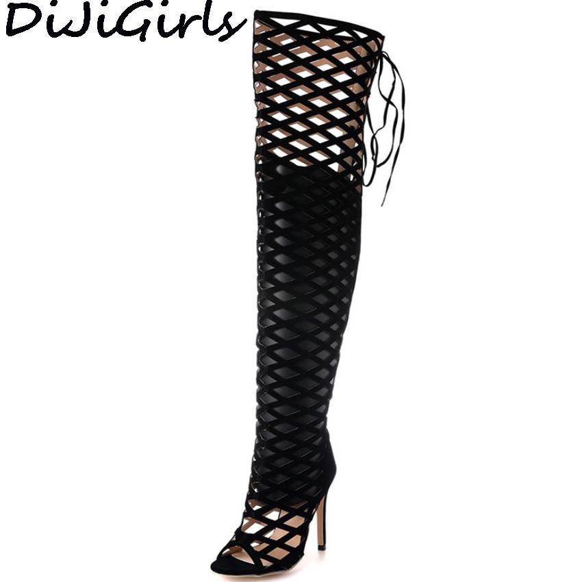 Dijigirls/пикантные Для женщин Сандалии-гладиаторы Клубная одежда Фетиш Обувь ажурные вырез полые клетке выше колена сапоги до бедра