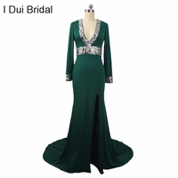 Long Sleeve Evening Dresses Spandex Fabric Slit Sexy Rhinestone Beaded Low V Neckline 2017SY010086
