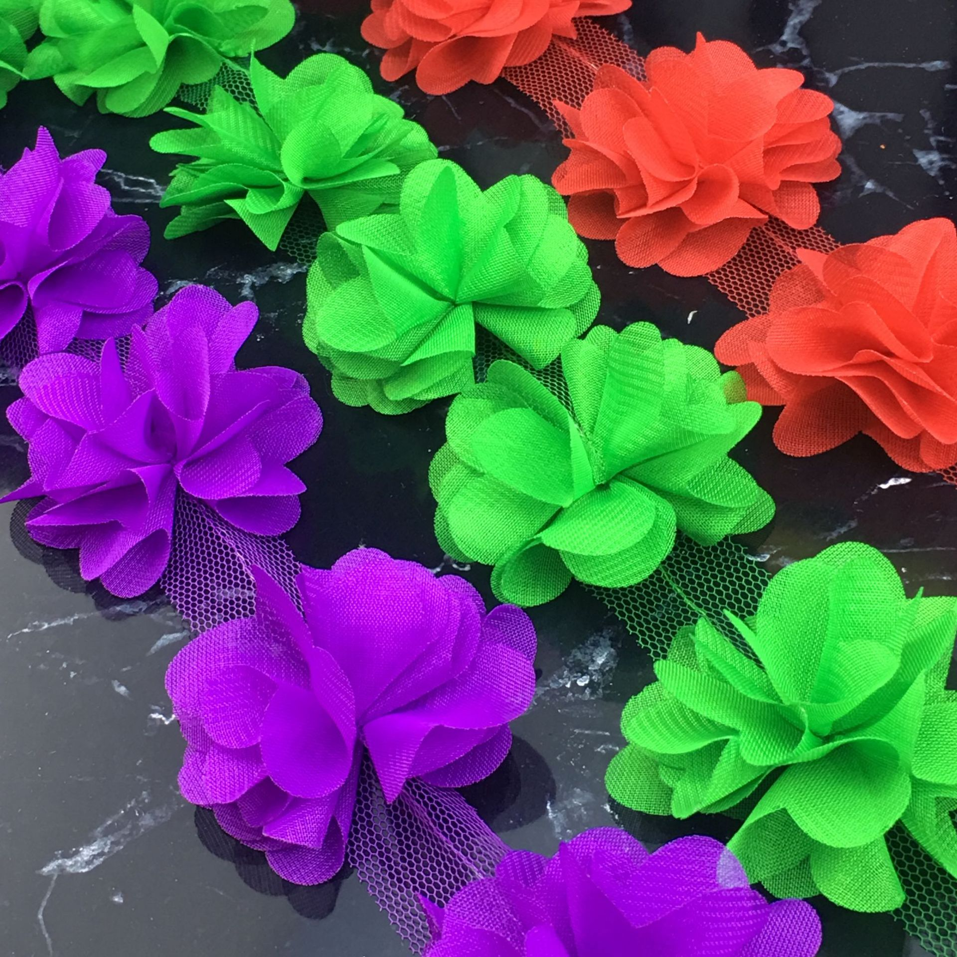 NISHINE Wholesale 120yards/lot 18 Colors Chiffon 3D Lace Flowers For Kids Handmade Headbands Diy Clothing Hair Accessories