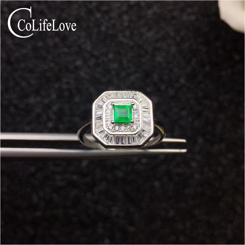 все цены на Genuine Zambia emerald silver ring for engagement 4 mm * 4 mm natural emerald ring solid 925 silver SI grade emerald jewelry онлайн