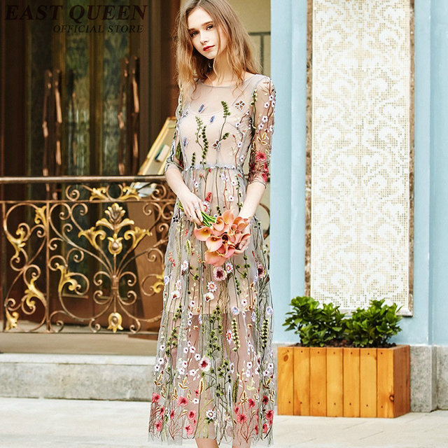 c3924989aa6a2 US $39.6 45% OFF|Women Boho chic mexican long floral dress hippie ethnic  style dress clothing bohemian holiday beach female sexy dresses NN0998 C-in  ...