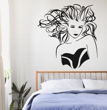 Girl Hair Vinyl Wall Decal Beauty Salon Window Sticker Shop Decoration Poster Art Mural AY700