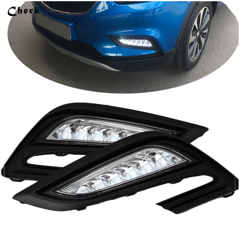 Hot! High Quality For Buick Encore mokka 2017 2018 DRL car styling white LED Daytime Rrunning Light Front Fog Lamp Brightly 2PCS high quality 3 colors white yellow ice blue led car drl daytime running lights fog light for buick encore opel mokka 2012 2015