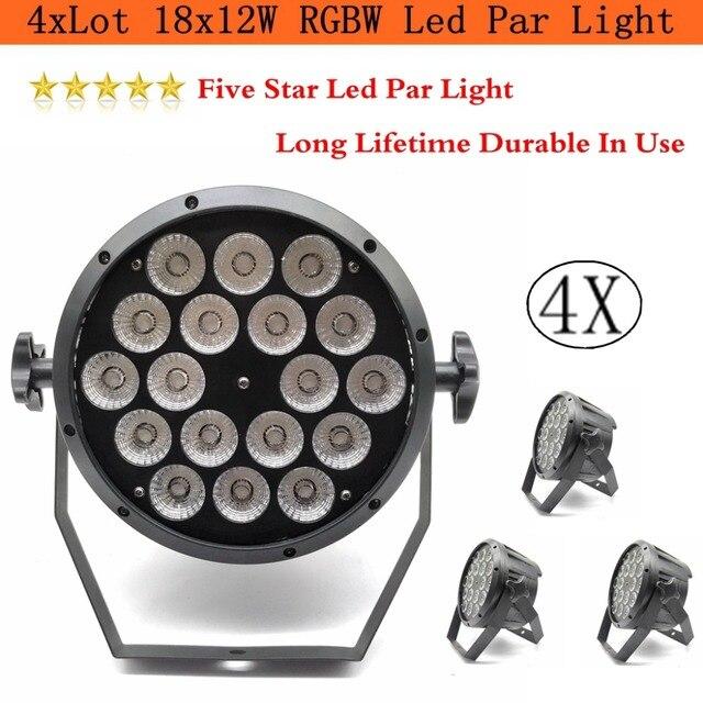 4 xLot venta 2019 18x12 W RGBW Led Par luz DMX luces de escenario luces de negocios profesional plano Par lámpara para fiesta KTV Disco DJ