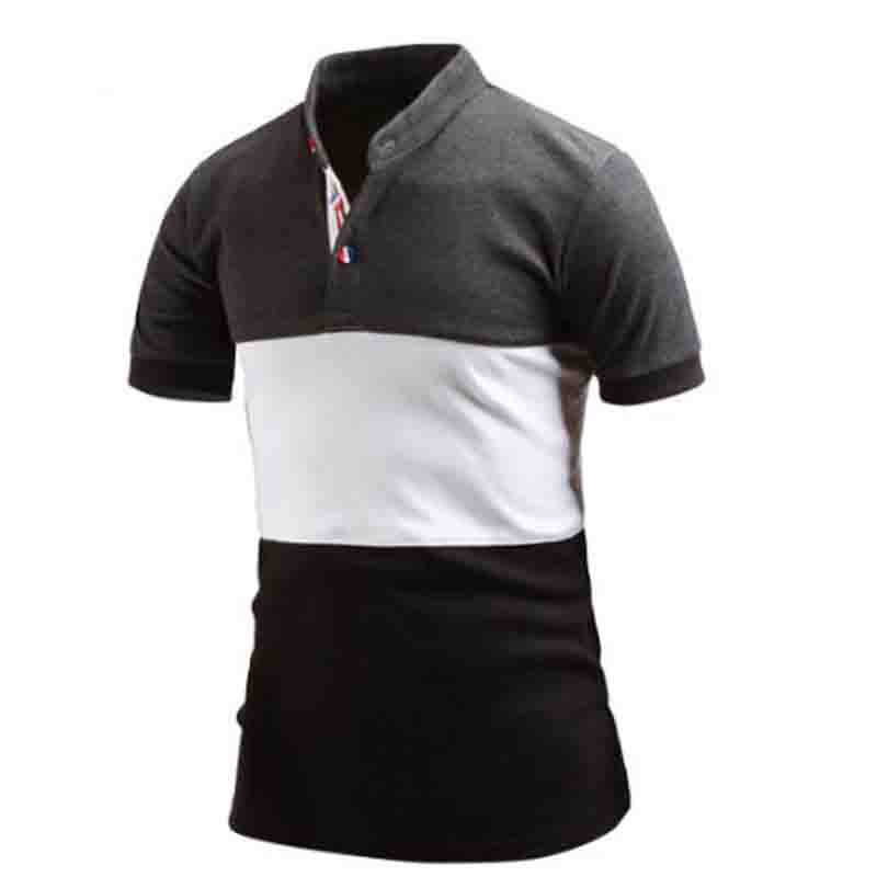 NEW 2019 Fashion summer   polos   shirts patchwork business stand collar cotton Breathable   polo   shirt men   polos   para hombre