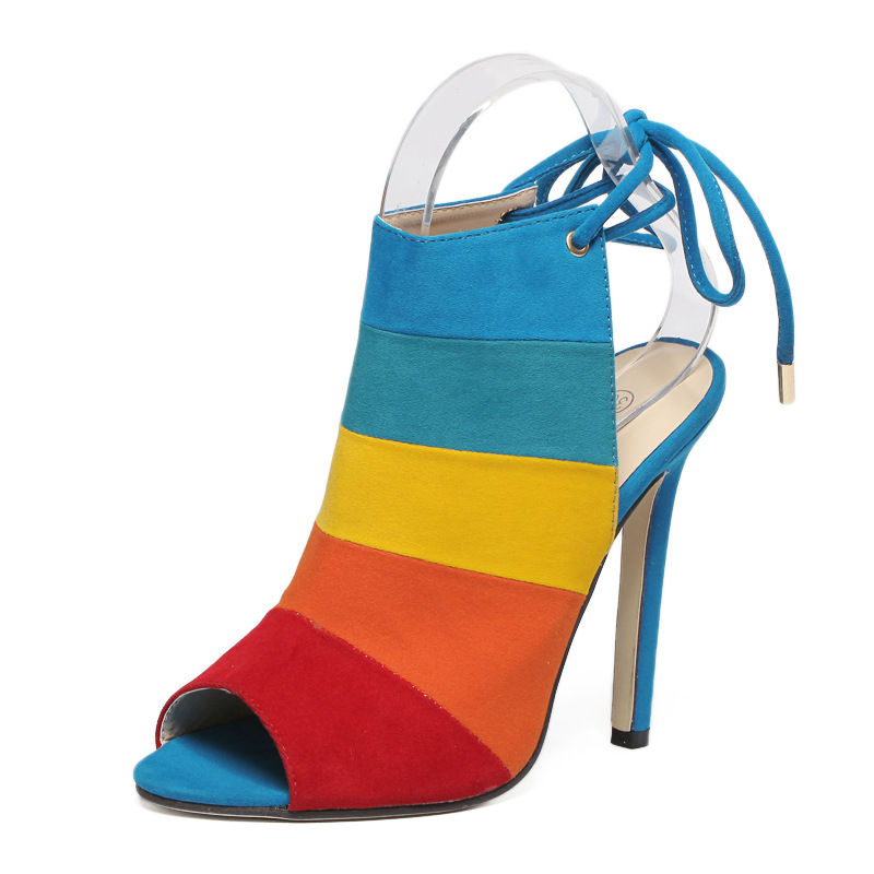 Fashion Mixed Color Women Pumps 2018 Summer Sandals Sexy 11.5cm High Heel Women Shoes for Party zapatillas mujer Women Sandals