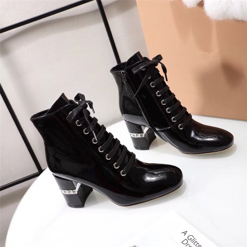 Luxury Crystal High Heels boots winter Lace Up Martin boots Women ankle boots Outdoor Rain Boot Ladies Footwear zapatos de mujer цена
