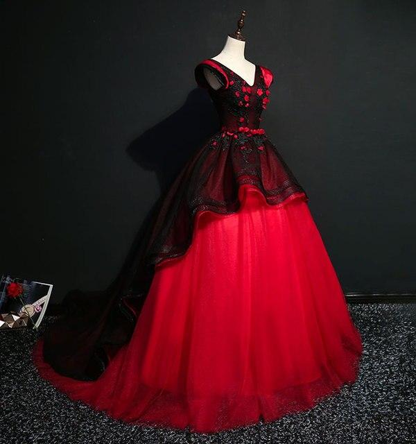 26936e13f06 100% настоящий черный и красный коронации королева косплей бальный наряд  средневековой платье эпохи Возрождения платье