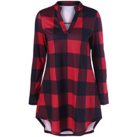 CharMma 2017 New Fashion Autumn V Neck Long Plaid Boyfriend Plus Size T Shirt Women Casual
