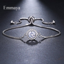 Emmaya Brand Fashion Elegance Two Colors AAA Zircon Adjustable Annular Round Crystal Bracelets For Women Jewelry Wedding Gift(China)