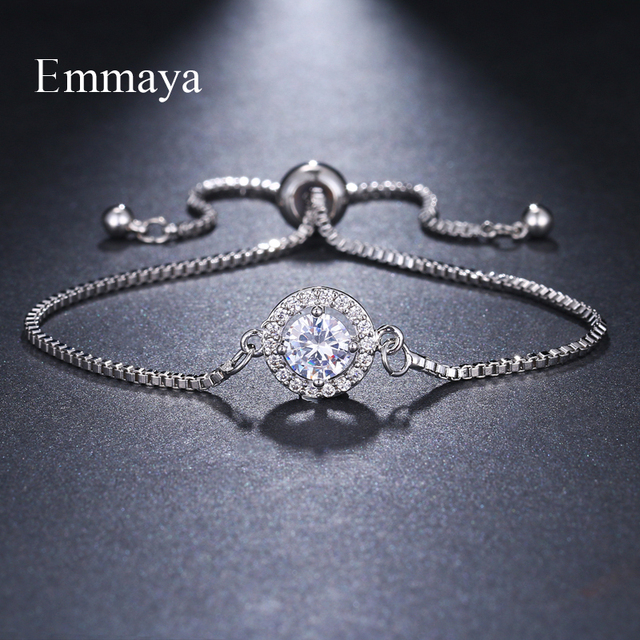 Emmaya Brand Fashion Elegance Two Colors AAA Zircon Adjustable Annular Round Crystal Bracelets For Women Jewelry Wedding Gift