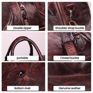 Image 5 - JOYIR erkek çanta seyahat çantası hakiki deri erkekler Duffel çanta bagaj seyahat çantası büyük kapasiteli deri silindir çanta haftasonu Tote