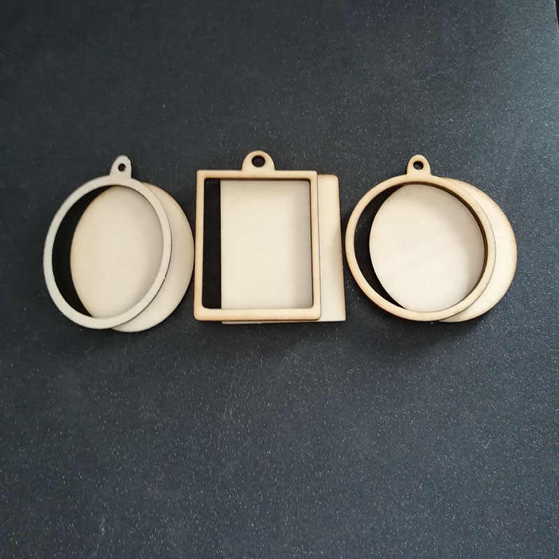 60pcs (6styles) Blank Unfinished Wood Frame Charm Pendant Oval Rectangle Round Circle Scrapbooking Wooden Jewelry DIY Crafts