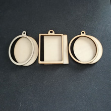 60pcs (6styles) Blank Unfinished Wood Frame Charm Pendant Oval Rectangle Round Circle Scrapbooking Wooden Jewelry DIY Crafts cheap