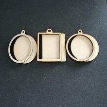 60 pçs (6 estilos) em branco quadro de madeira inacabado charme pingente retângulo oval círculo redondo scrapbooking jóias de madeira diy artesanato