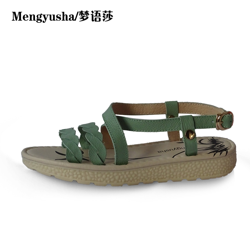 MengyushaSummer new flat bottom thick sponge flat with anti-skid leather shoes sandals women Xia students large size shoes цена