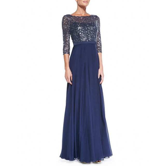 Azul Royal mãe do vestido da noiva com 3/4 - luva de lantejoulas Lace corpete vestido presente mãe Plus Size mãe dos vestidos de noiva