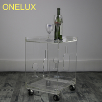 (KD Packed) Clear Acrylic Small Sofa Table On Wheels,Rolling Lucite Occasional End Corner Tea Tables 40W 33D 53H CM