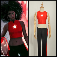 DC Comics The Invincible Iron Man Riri Williams Red Cosplay Costume Custom Made Top Coat Only with Pants (Tell us your gender)