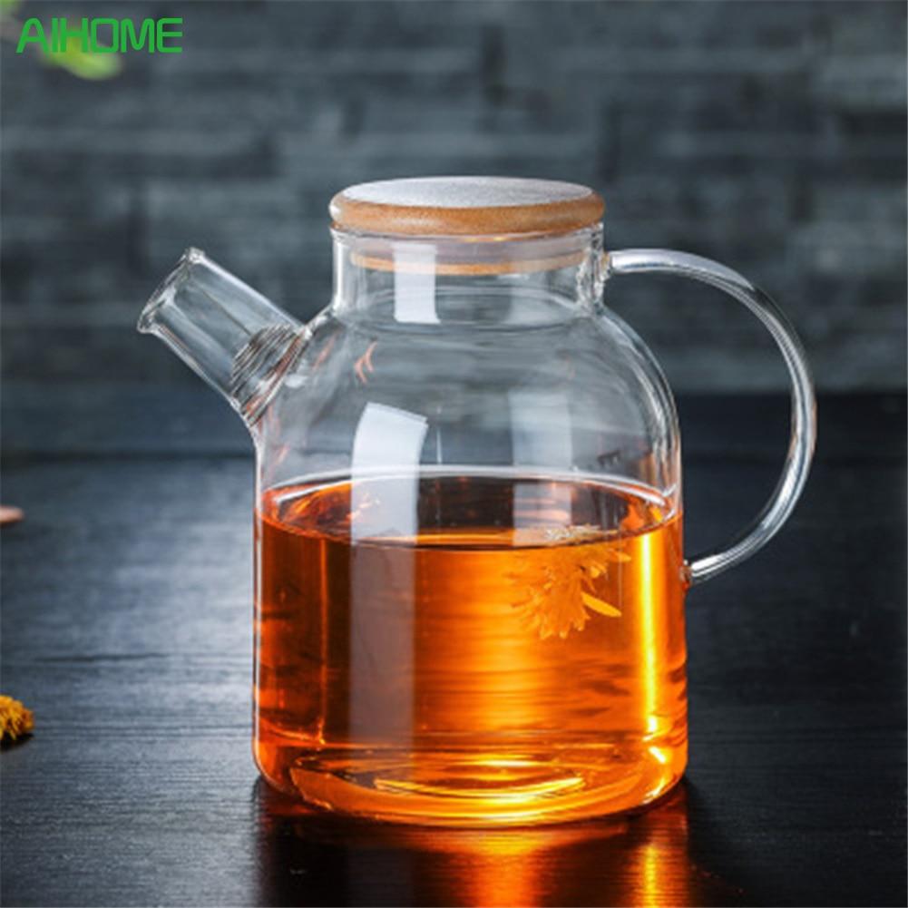 Kitchen Kettle Village Coupons: Large Capacity Drinkware 1000ml/1800ml Glass Teapot Flower